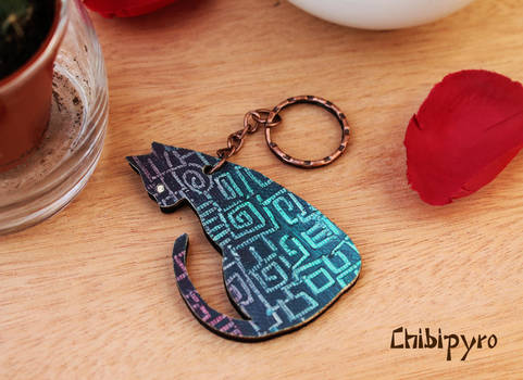 Painted cat Keychain by ChibiPyro