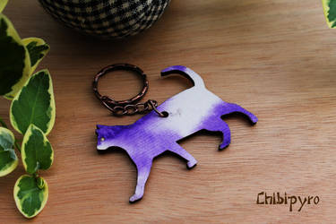 Wooden cat painted keychain by ChibiPyro