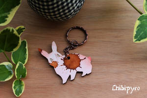 Wooden painted keychain bunny by ChibiPyro