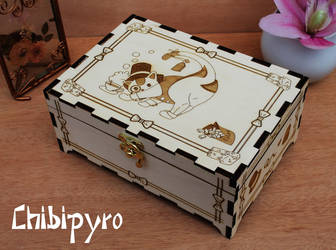 Wooden tea box lord cat by ChibiPyro