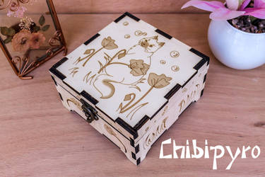 Flower Cat Wooden Box by ChibiPyro