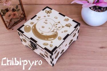 Bubble Cat Wooden Box by ChibiPyro