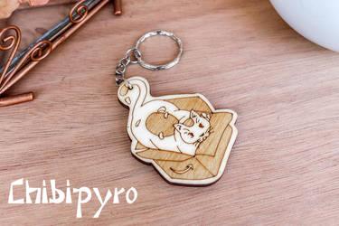 Box Cat Keychain by ChibiPyro