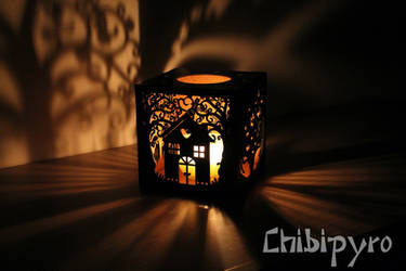 Custom home sweet home hardboard lantern by ChibiPyro