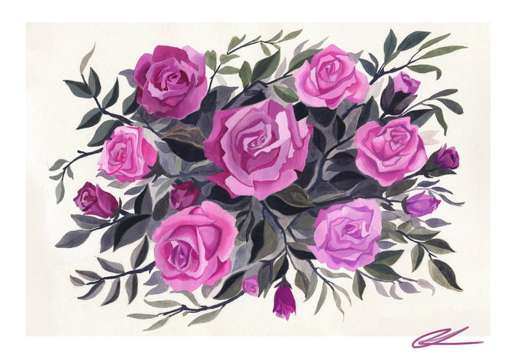 Gouache Rose Painting