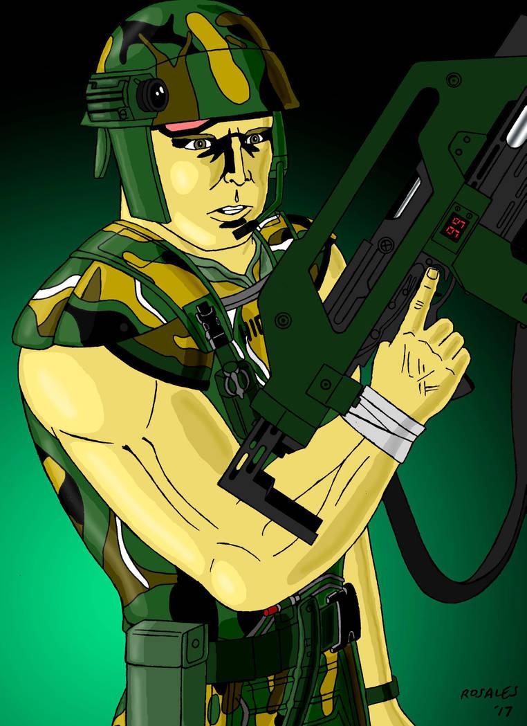 Aliens Corporal Dwayne Hicks by ArtSpillGalaxy