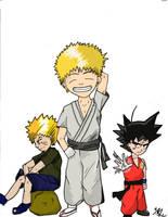 Ichigo, Naruto, Kid Goku by Kurokawa-Shun