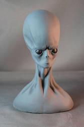 Classic Grey Alien Hybrid Bust by Blairsculpture