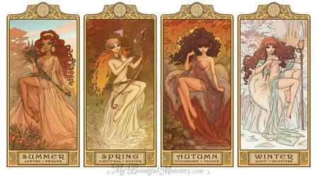 ElfQuest Art Nouveau Seasons by MyBeautifulMonsters