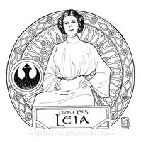 Princess Leia Art Nouveau Poster by MyBeautifulMonsters