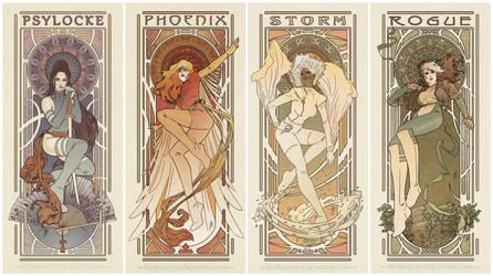 Art Nouveau Ladies of X-men by MyBeautifulMonsters