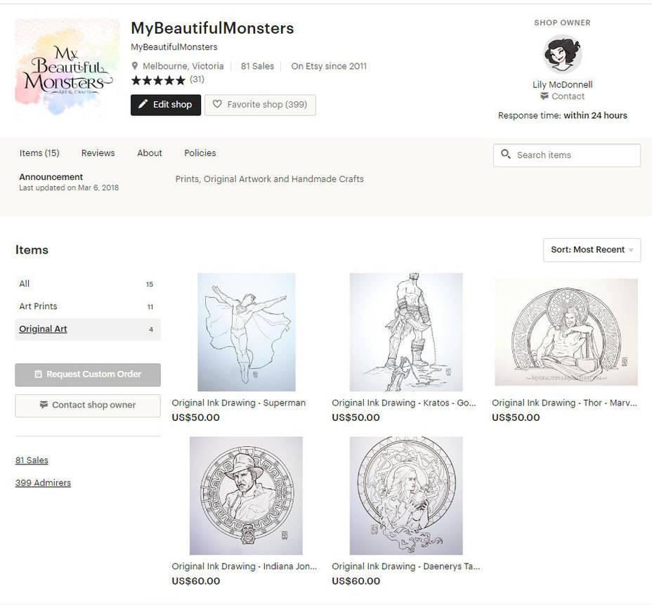 Fan Art Original Ink Drawings for Sale by MyBeautifulMonsters