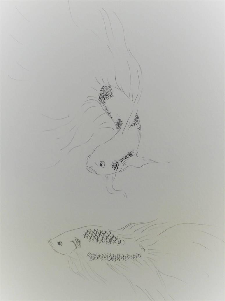 Inktober - Betta fish (WIP) by kronikinocnejzmory