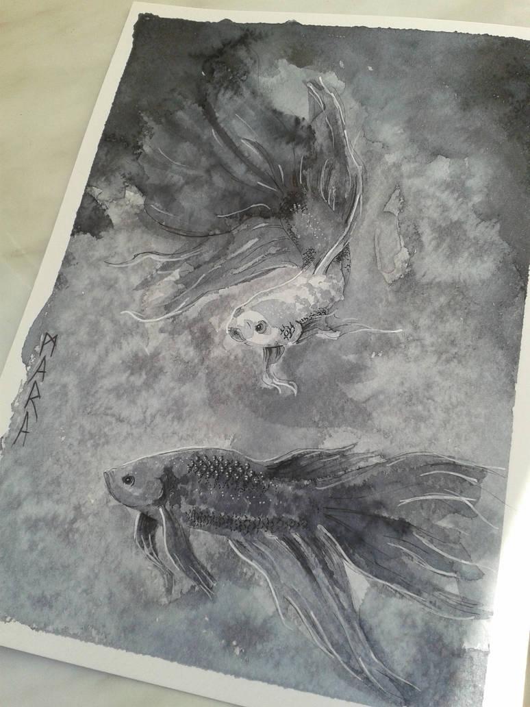 Inktober - Betta fish by kronikinocnejzmory