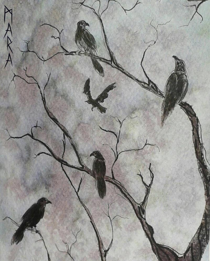 Inktober - Corvus corax by kronikinocnejzmory