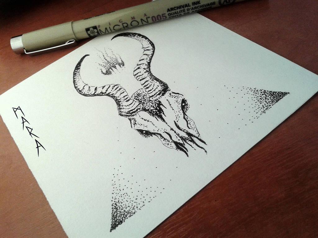 Inktober - skull by kronikinocnejzmory