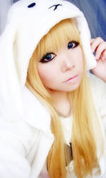 Little White Fluffy Bunny-self portrait by MiiyuKorner