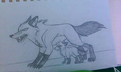 Cassie the wolf protects her pup by PikachuGirl234