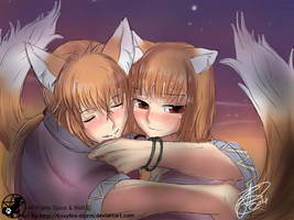 Spice and wolf: Male holo and holo by FoxyFire-Storm