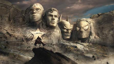 Rushmore mountain: superheroes version by nkabuto