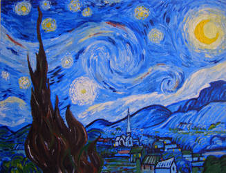 Starry night reproduction by WalesDragon-2012