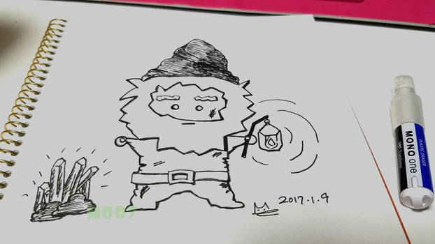 A doodle a day - mining dwarf by Merc007