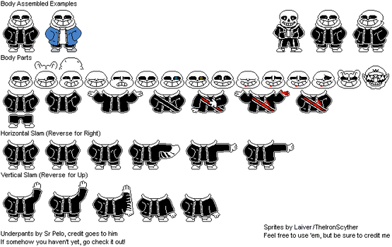 Underpants Sans Battle Sprites By Theironscyther On Deviantart