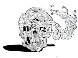 Inktober 2016 - Day 15, Skull Factory by mcgormack
