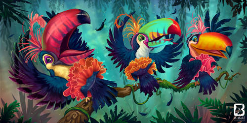The Toucans Can Can by LindseyBell