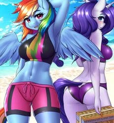 Rainbow Dash and Rarity Beach SFW by TwistedScarlett60