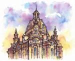 Dresden watercolor illustration by Kot-Filemon
