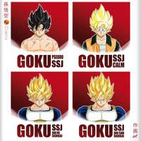 Goku Super Saiyajin1 different types by dsp27