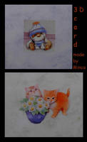 3D cards-2 cats - a little dog by M-i-n-c-a
