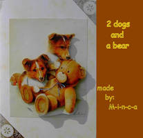 3D card: 2 dogs and a bear by M-i-n-c-a