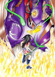 Alice vs. Jabberwocky by Fuyukichi