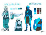 Commission: Character Sheets Aqua n' Turq by Rice-Lily