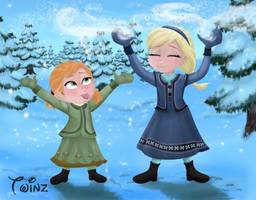 Anna And Elsa - Let It Snow! by Wiccatwolf