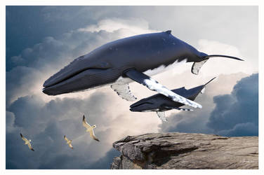 Whales In The Clouds by 12CArt