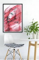 Red Head Lady Frame by sketchgrind