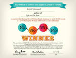 2012 Nano Winner Certificate by fanfictionaxis
