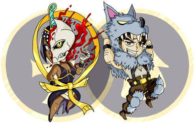 Eliza and Beowulf Chibis by Bloodedskull19