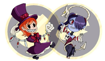 Peacock and Squigly Chibis by Bloodedskull19