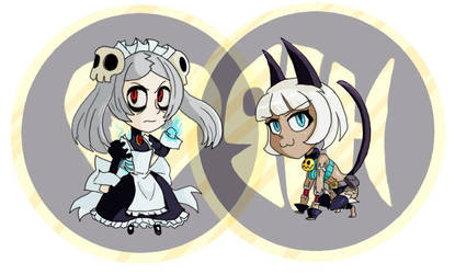 Marie and Ms. Fortune Chibis by Bloodedskull19