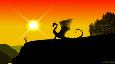 Dragon and sunset -1080p- by xTernal7