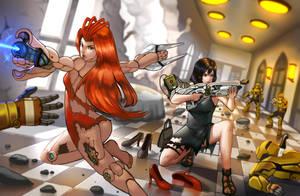 Maria and Lara: Party Crashed by Levia-the-Dragon