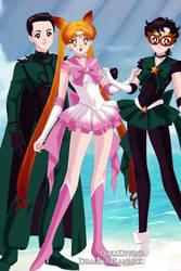 Sailor Chibi Moon and Gohan-Sailor Saiyaman by Usako89