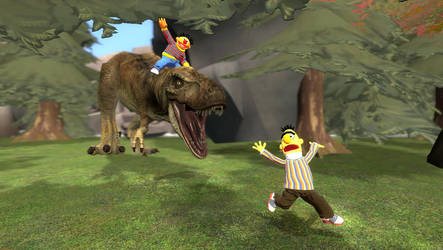 Bert and Ernie: Going Prehistoric by Luigimariogmod