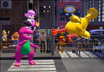 Barney vs Big bird by Luigimariogmod