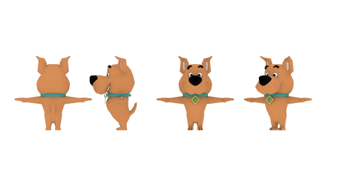Scrappy-Doo 3D Model Sheet by Luigimariogmod