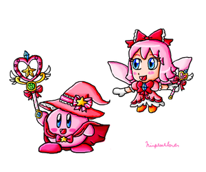 Magic Star Warrior Kirby And Spirit Fairy Ribbon by ninpeachlover